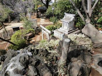 鳩森八幡神社(富士塚頂上から下).jpg